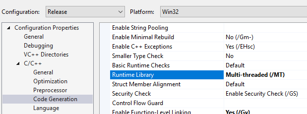 Runtime Library Option